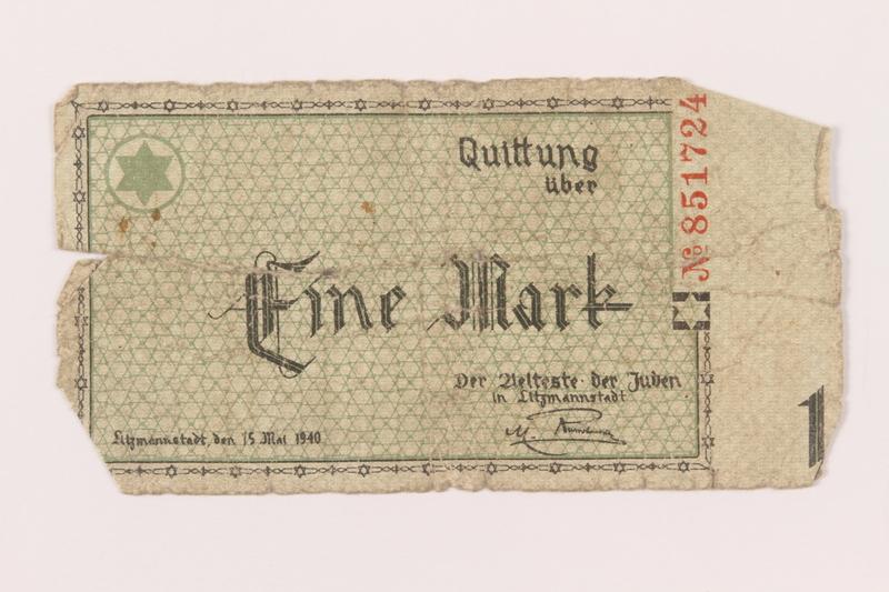 1999.296.7 front Łódź (Litzmannstadt) ghetto scrip, 1 mark note