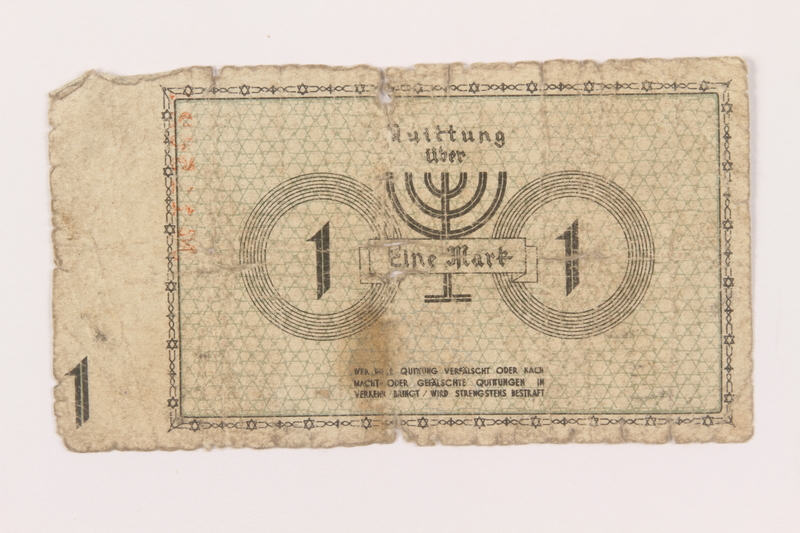 1999.296.9 back Łódź (Litzmannstadt) ghetto scrip, 1 mark note