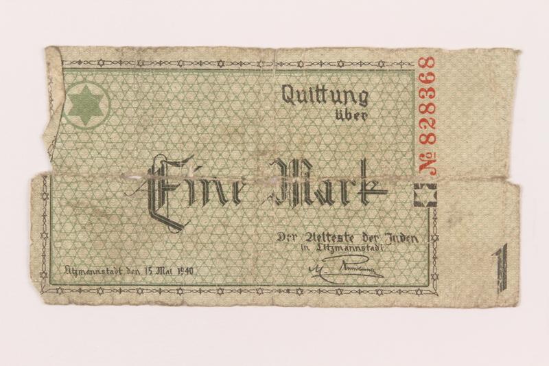 1999.296.10 front Łódź (Litzmannstadt) ghetto scrip, 1 mark note