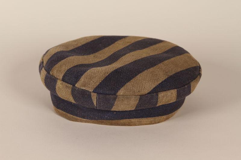 1994.115.1 front Concentration camp uniform cap worn by a Jewish German man