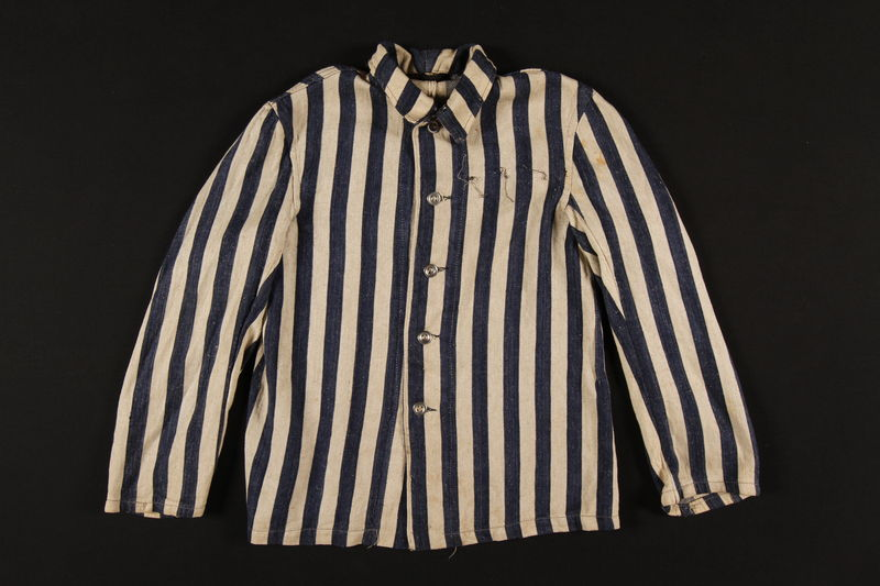 1989.242.1 front Striped concentration camp jacket worn by a young Polish Jewish inmate