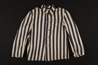 1989.242.1 front Striped concentration camp jacket worn by a young Polish Jewish inmate  Click to enlarge