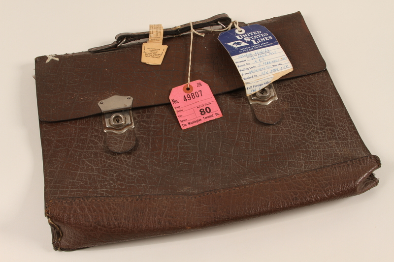 1989.277.1 front Brown leather briefcase acquired by a Polish Jewish woman in a DP camp