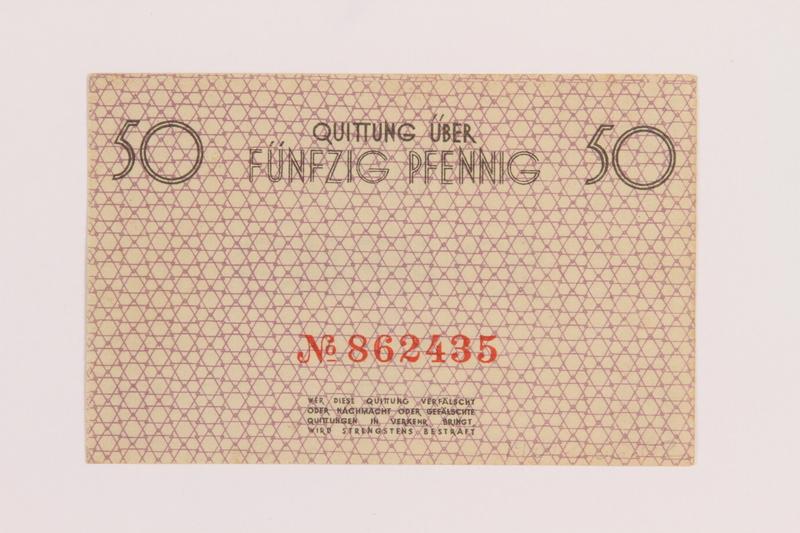 1989.286.1 back Łódź ghetto scrip, 50 pfennig note