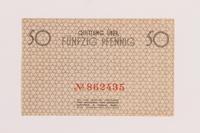 1989.286.1 back Łódź ghetto scrip, 50 pfennig note  Click to enlarge