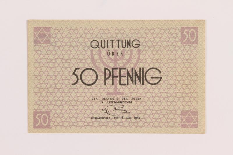 1989.286.1 front Łódź ghetto scrip, 50 pfennig note