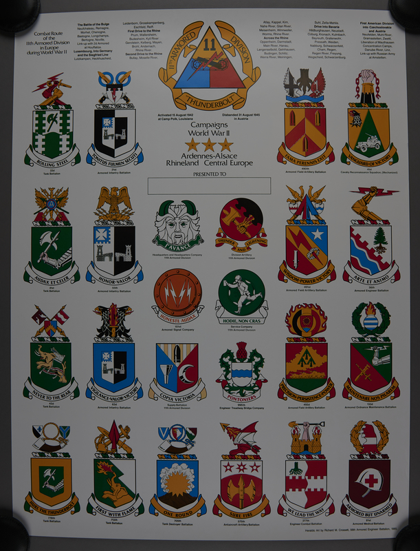 1989.324.4 front 2-sided commemorative poster, 11th Armored Division, US Army, owned by a unit veteran