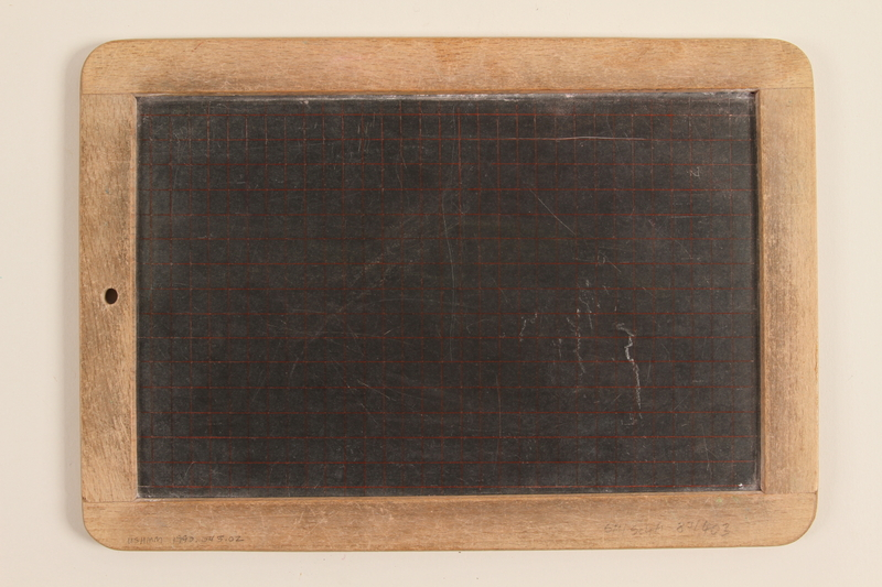 1990.45.2 front Small slate and wood blackboard used by schoolchildren in Nazi Germany