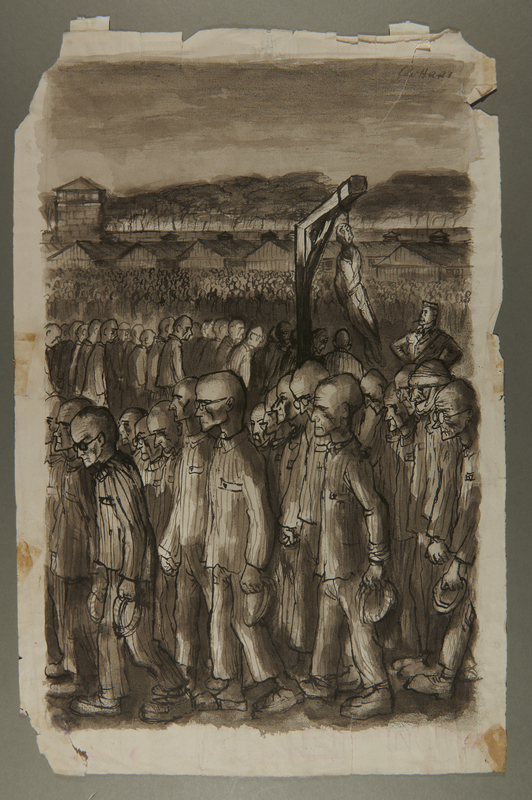 2002.490.1 front Leo Haas drawing of concentration camp inmates witnessing a hanging