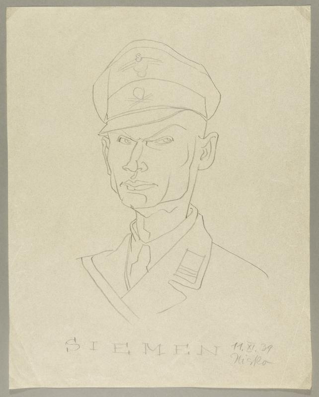 2002.490.4 front Leo Haas sketch of SS labor camp guard Siemen