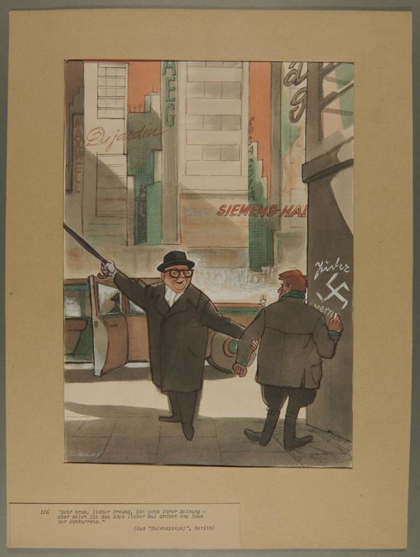 2002.490.6 front Leo Haas postwar cartoon of a wealthy man redirecting a man drawing Nazi graffitti