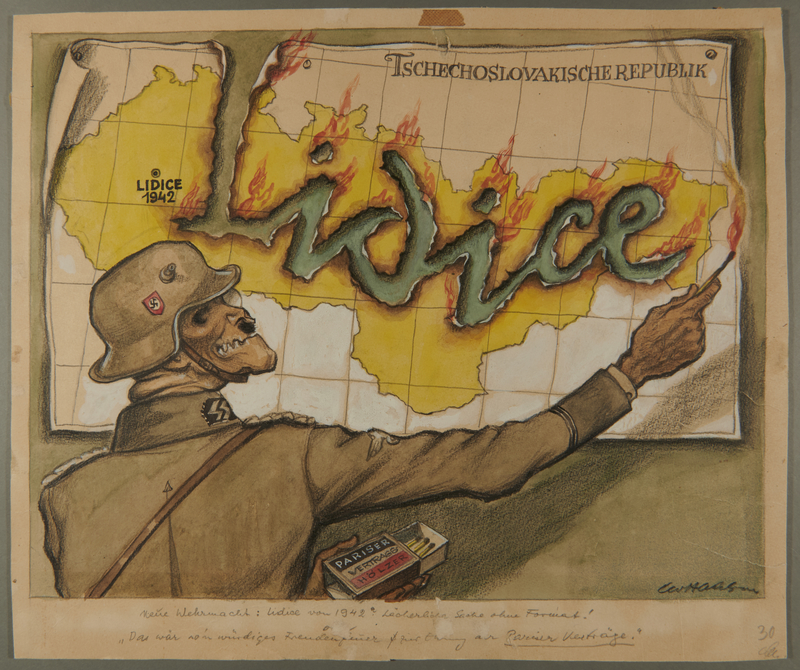2002.490.7 front Leo Haas cartoon of a skeletal Nazi setting the word Lidice on fire