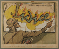 2002.490.7 front Leo Haas cartoon of a skeletal Nazi setting the word Lidice on fire  Click to enlarge