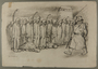 Leo Haas drawing of concentration camp inmates lined up for roll call