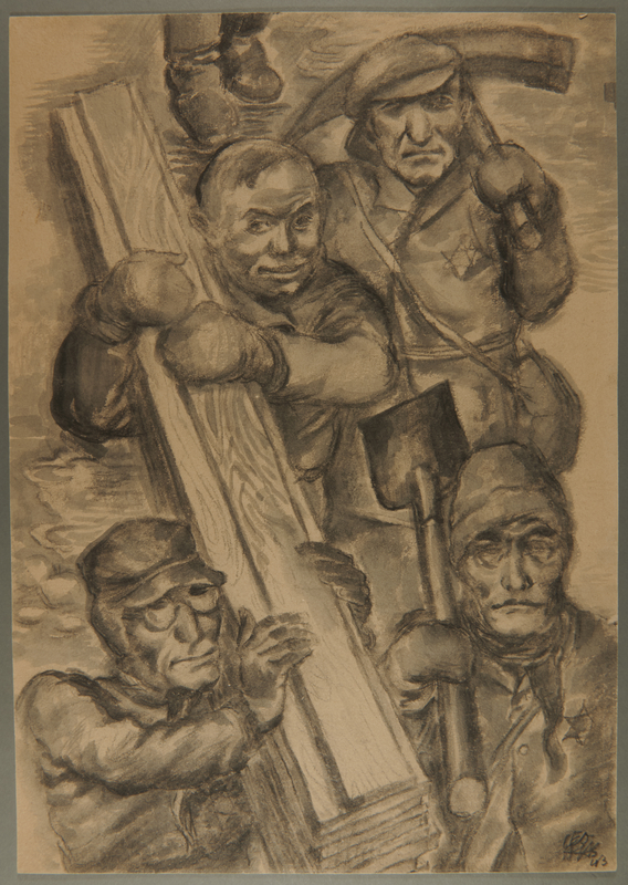 2002.490.10 front Leo Haas drawing of Jewish forced laborers carrying lumber