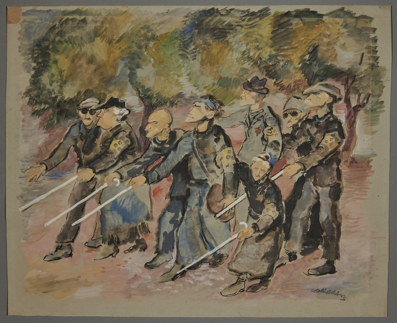 2002.490.11 front Leo Haas watercolor of blind Jewish inmates walking outdoors