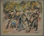 Leo Haas watercolor of blind Jewish inmates walking outdoors