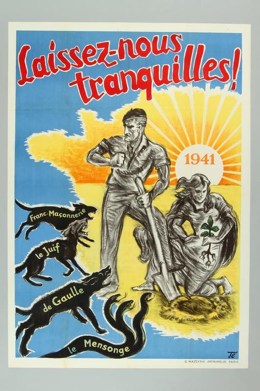 1999.160.5 front Pro-German propaganda poster warning of threats against France