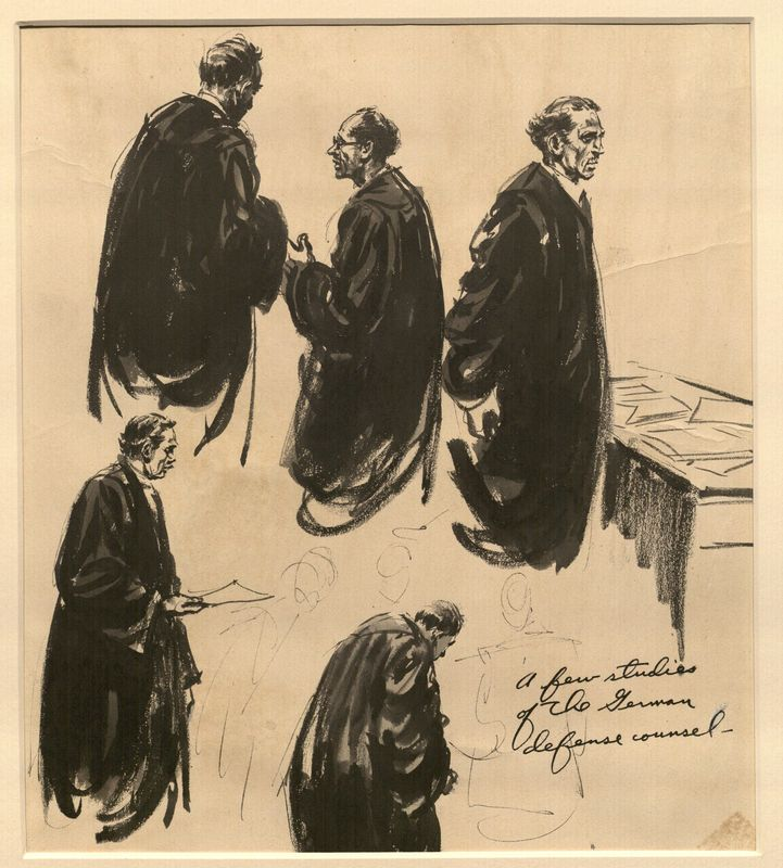 Ed Vebell Artwork Collection Image, 2003.435.1 Portrait studies of defense lawyers created during the Trial of German Major War Criminals at Nuremberg