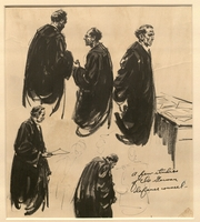 Ed Vebell Artwork Collection Image, 2003.435.1 Portrait studies of defense lawyers created during the Trial of German Major War Criminals at Nuremberg  Click to enlarge