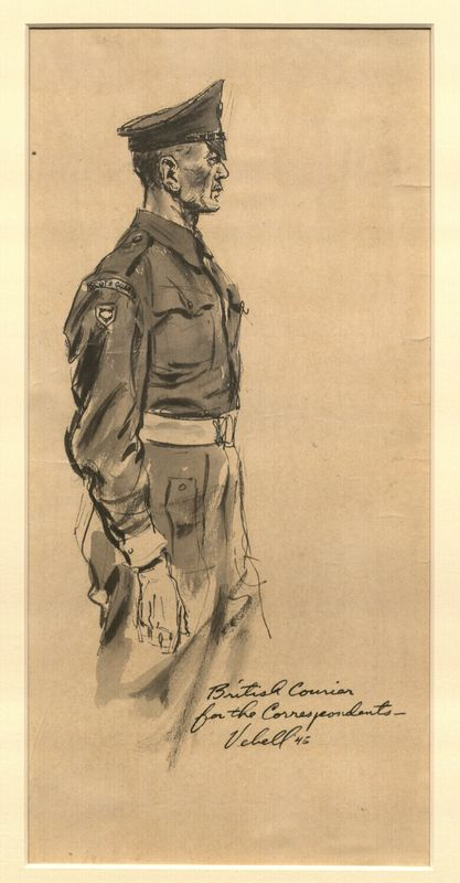 Ed Vebell Artwork Collection Image, 2003.435.2 Portrait of a military courier created during the Trial of German Major War Criminals at Nuremberg