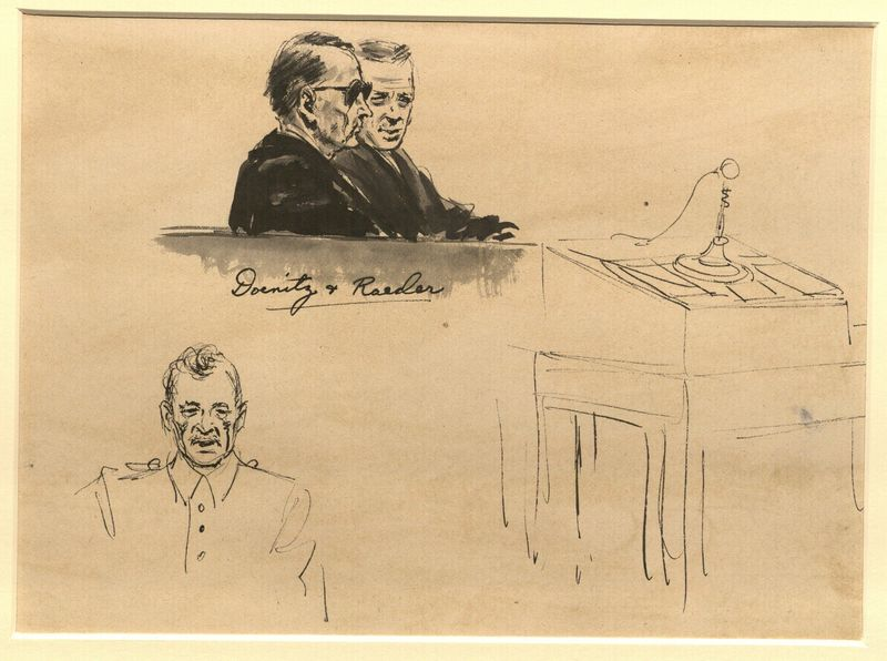 Ed Vebell Artwork Collection Image, 2003.435.3 Courtroom sketch of 2 German Admirals created during the Trial of German Major War Criminals at Nuremberg