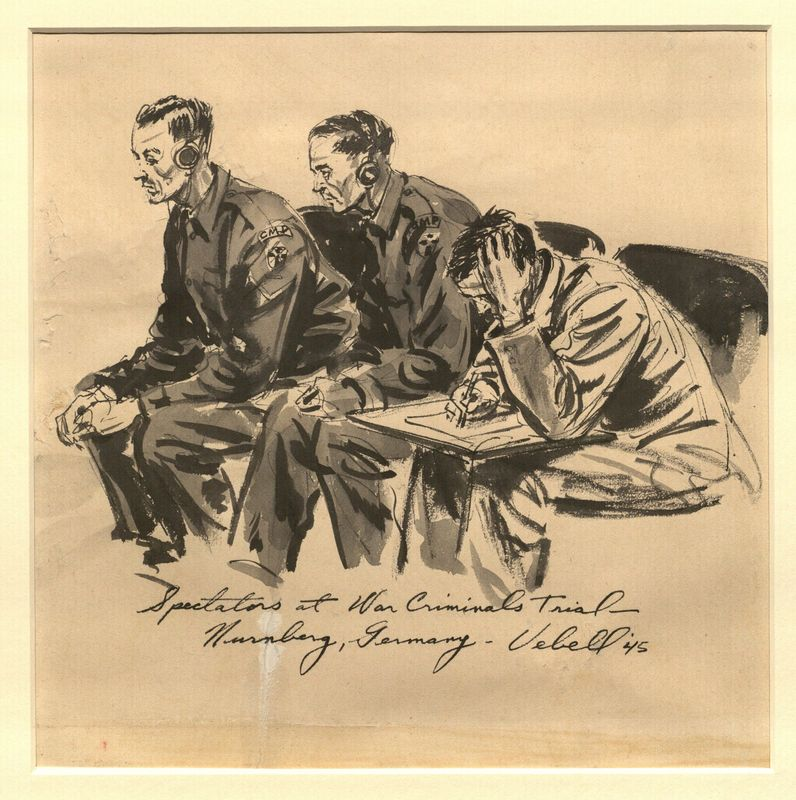 Ed Vebell Artwork Collection Image, 2003.435.5 Drawing of courtroom observers created during the Trial of German Major War Criminals at Nuremberg