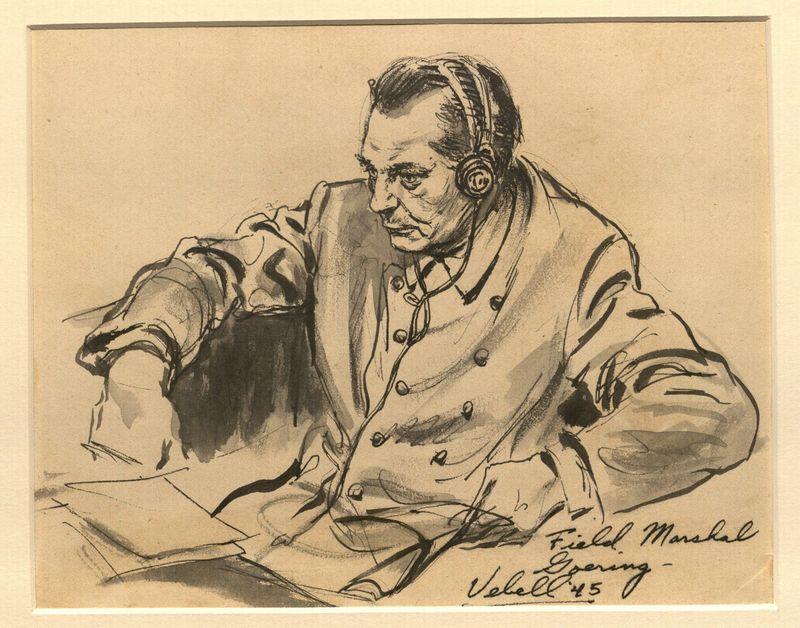 Ed Vebell Artwork Collection Image, 2003.435.7 Courtroom portrait of Hermann Göring listening on headphones created during the Trial of German Major War Criminals at Nuremberg