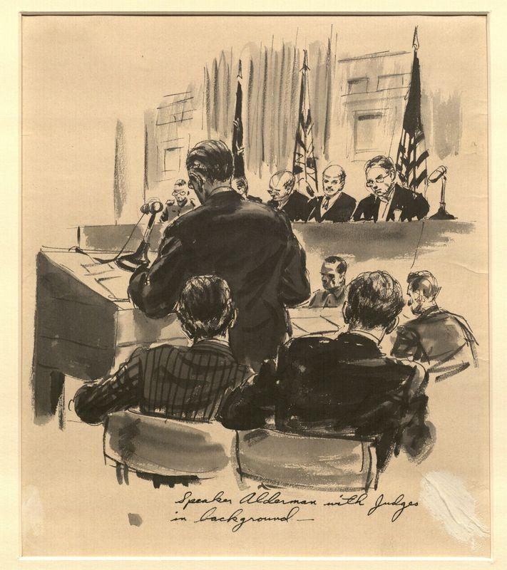 Ed Vebell Artwork Collection Image, 2003.435.8 Courtroom portrait of Sidney Alderman, US prosecution team, created during the Trial of German Major War Criminals at Nuremberg