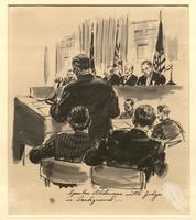Ed Vebell Artwork Collection Image, 2003.435.8 Courtroom portrait of Sidney Alderman, US prosecution team, created during the Trial of German Major War Criminals at Nuremberg  Click to enlarge