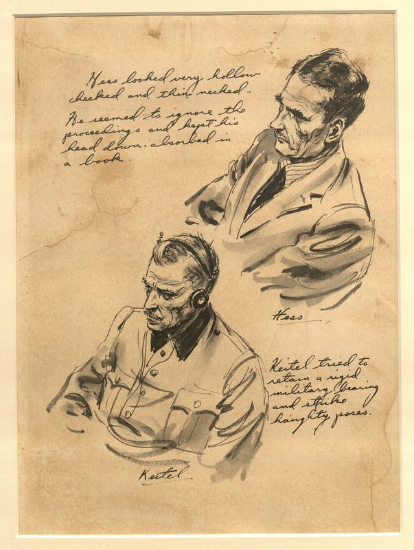 Ed Vebell Artwork Collection Image, 2003.435.9 Courtroom portraits of Rudolph Hess and Wilhelm Keitel created during the Trial of German Major War Criminals at Nuremberg