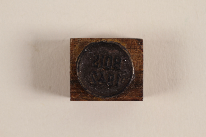 1988.77.4 front Bois 1942 hand stamp made to forge papers for the resistance