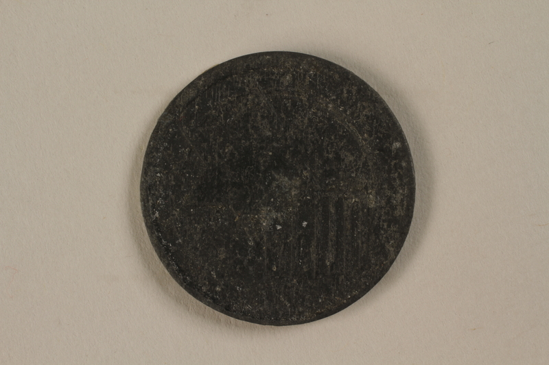1987.90.80 front Łódź (Litzmannstadt) ghetto scrip, 5 mark coin