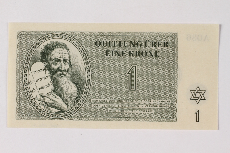 1990.92.1 front Theresienstadt ghetto-labor camp scrip, 1 krone note