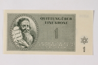 1990.92.1 front Theresienstadt ghetto-labor camp scrip, 1 krone note  Click to enlarge