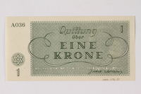 1990.92.1 back Theresienstadt ghetto-labor camp scrip, 1 krone note  Click to enlarge