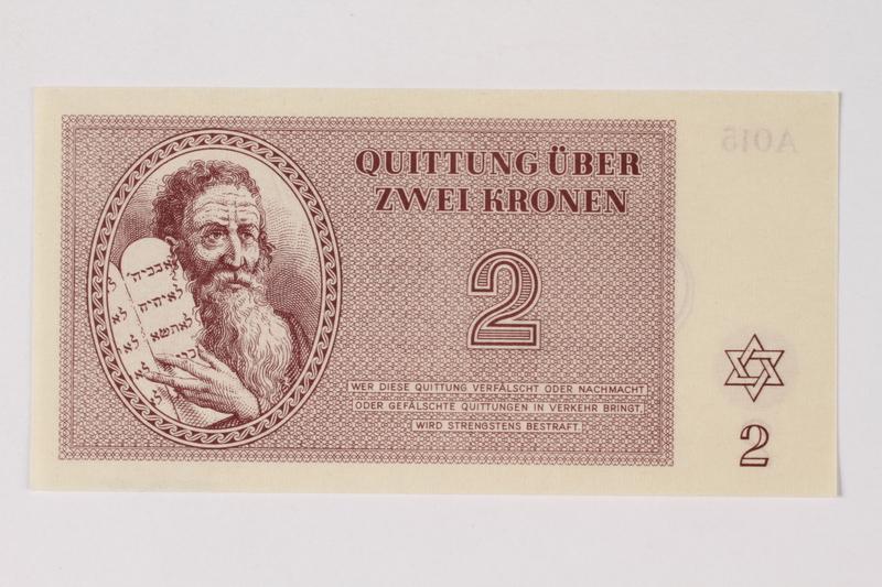 1990.92.2 front Theresienstadt ghetto-labor camp scrip, 2 kronen note