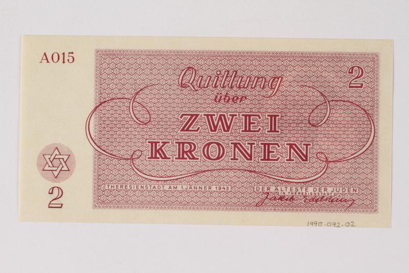 1990.92.2 back Theresienstadt ghetto-labor camp scrip, 2 kronen note