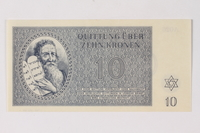 1990.92.4 front Theresienstadt ghetto-labor camp scrip, 10 kronen note  Click to enlarge