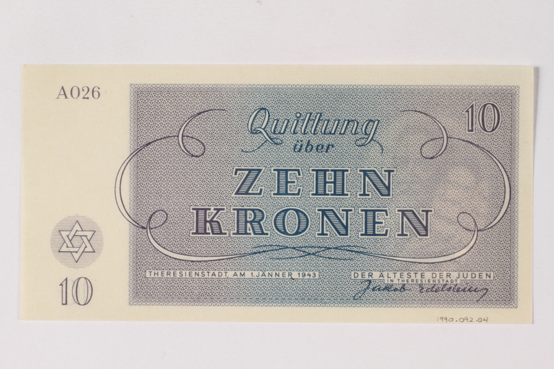 1990.92.4 back Theresienstadt ghetto-labor camp scrip, 10 kronen note