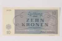 1990.92.4 back Theresienstadt ghetto-labor camp scrip, 10 kronen note  Click to enlarge