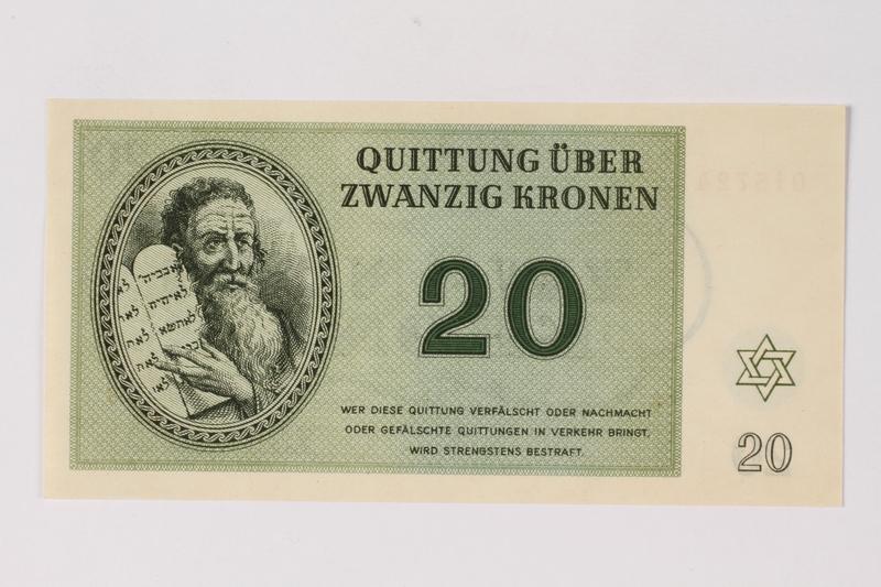 1990.92.5 front Theresienstadt ghetto-labor camp scrip, 20 kronen note