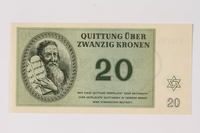 1990.92.5 front Theresienstadt ghetto-labor camp scrip, 20 kronen note  Click to enlarge