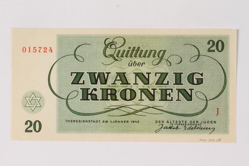 1990.92.5 back Theresienstadt ghetto-labor camp scrip, 20 kronen note