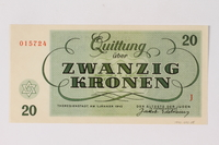 1990.92.5 back Theresienstadt ghetto-labor camp scrip, 20 kronen note  Click to enlarge