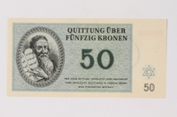 1990.92.6 front Theresienstadt ghetto-labor camp scrip, 50 kronen note  Click to enlarge