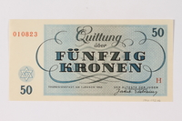 1990.92.6 back Theresienstadt ghetto-labor camp scrip, 50 kronen note  Click to enlarge