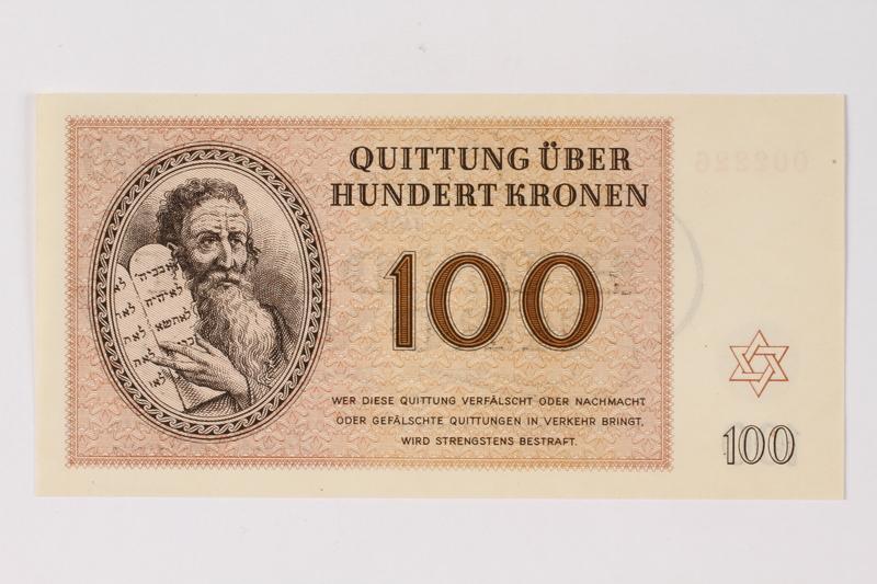 1990.92.7 front Theresienstadt ghetto-labor camp scrip, 100 kronen note