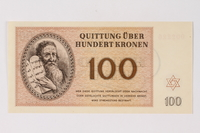 1990.92.7 front Theresienstadt ghetto-labor camp scrip, 100 kronen note  Click to enlarge