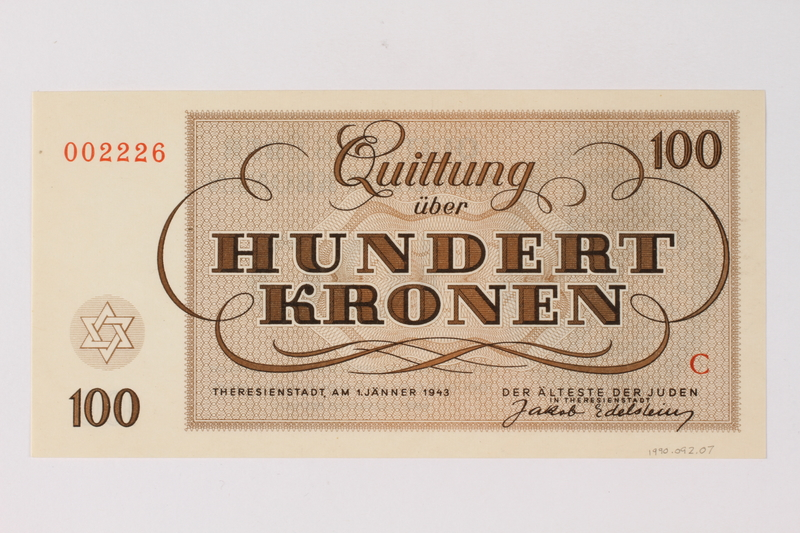 1990.92.7 back Theresienstadt ghetto-labor camp scrip, 100 kronen note
